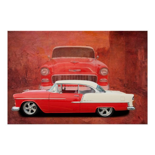 Classic Car Poster 1955 1956 Chevy 55 56 | Zazzle.com