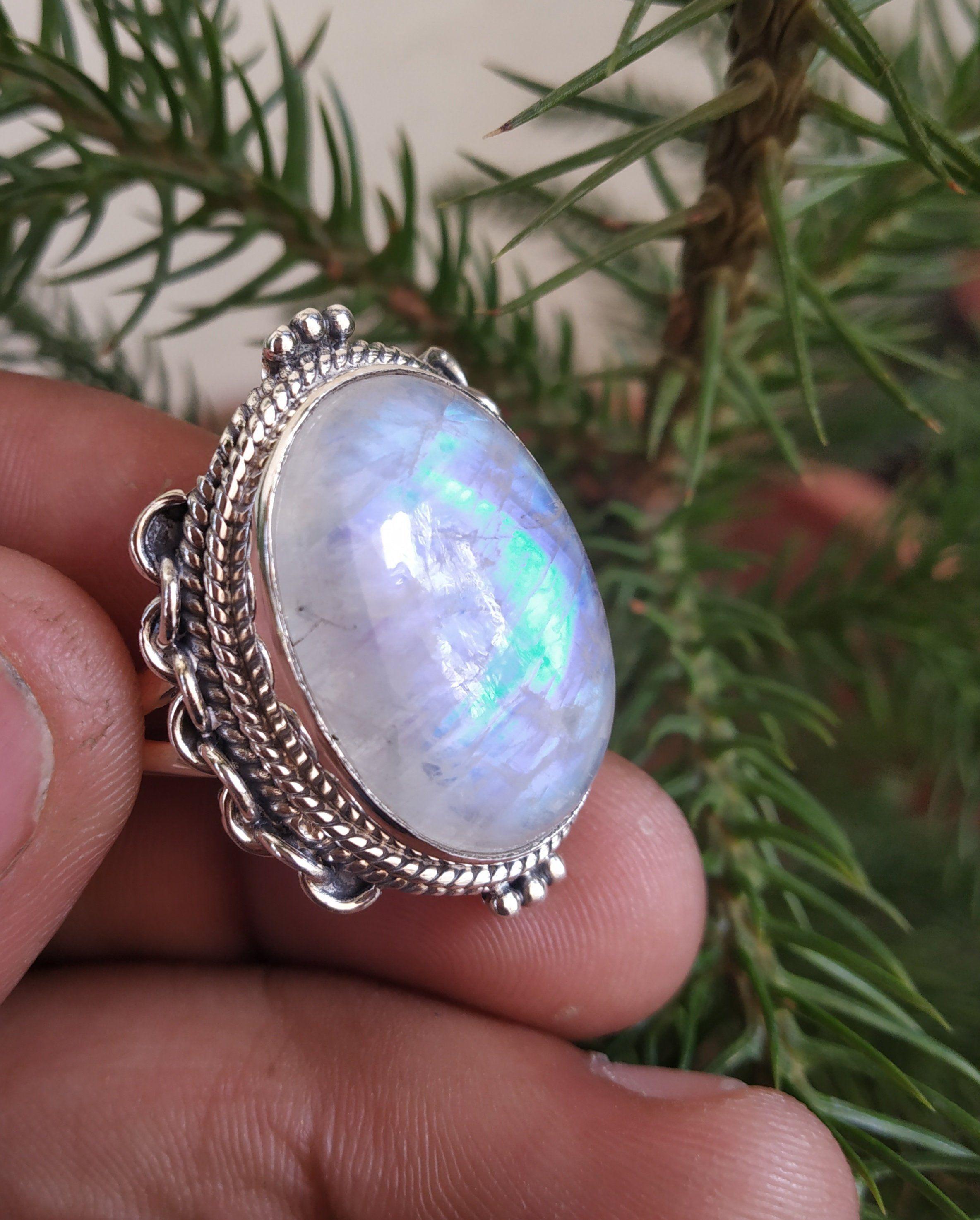 moonstone ring rainbow moonstone ring handmade jewelry 925 sterling silver blue flash moonstone ring gemstone ring women/'s anniversary ring
