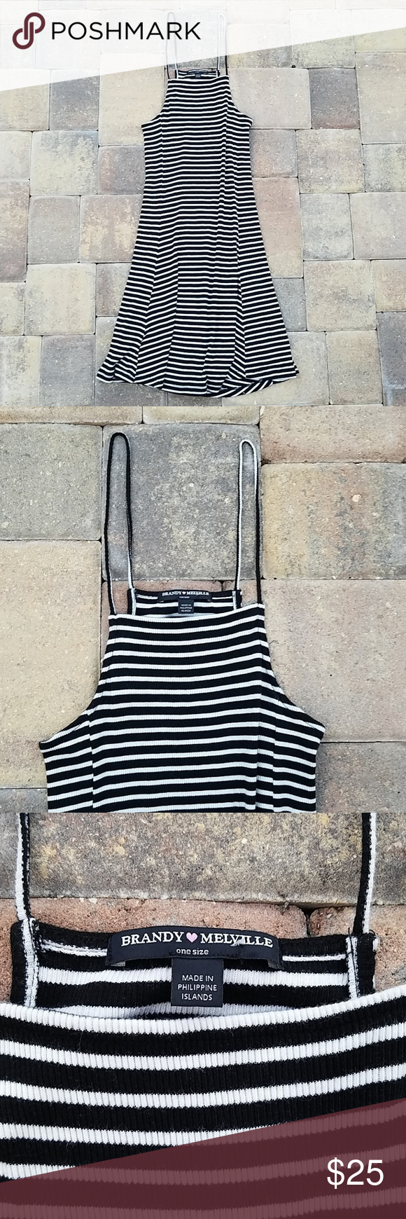 Brandy Melville Dress - Black & White Stripes Brandy Melville black and white stripe sleeveless/spaghetti strap short sundress. One size (usually fits XS-M). Straps are long (not adjustable so they may need to be hemmed) and dress is stretchy. Ribbed material. 60% cotton, 40% modal. Very good condition overall but in my opinion the straps are a tad stretched out long. See measurements below.  Approximate measurements when flat: Armpit to armpit 12 Bottom of armpit to top of strap 11 1/4 Waist #shortsundress
