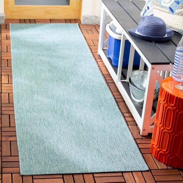 Safavieh Courtyard Aqua 2 Ft X 12 Ft Indoor Outdoor Runner Area Rug Cy8520 37122 212 The Hom In 2020 Indoor Outdoor Area Rugs Indoor Outdoor Rugs Outdoor Area Rugs