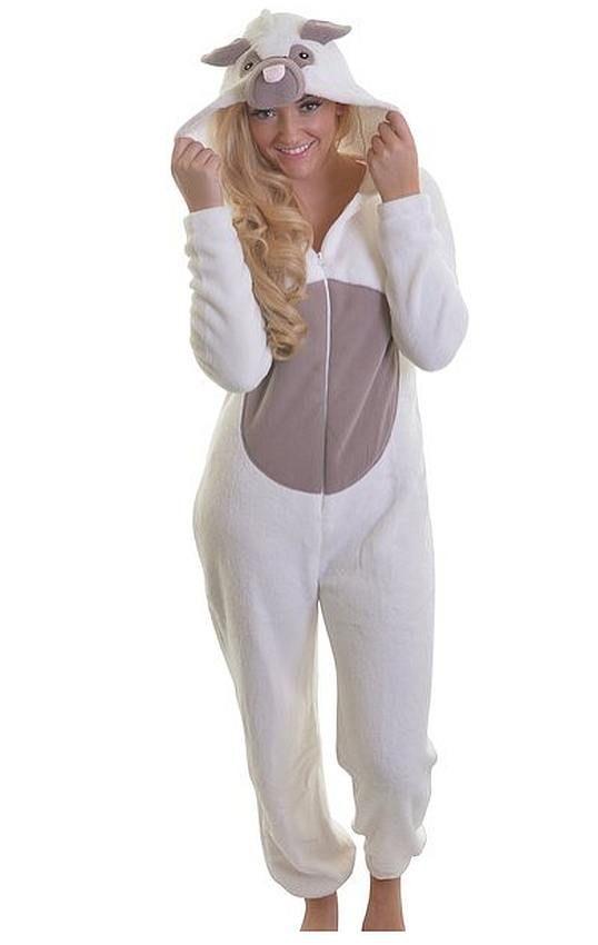 Dannii Matthews Womens Soft /& Cuddly Hooded Giraffe Onesie All-in-One Fleece Loungewear Winter Nightwear Small to X-Large