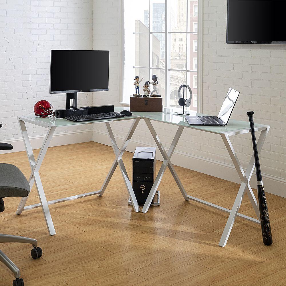 Walker Edison L Shaped Modern Glass, Porch Den Hardy Black Metal Glass Corner Computer Desk
