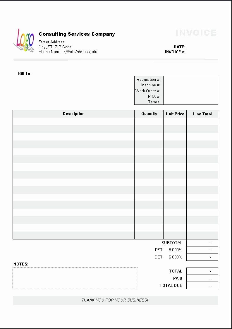 Consulting invoice template word fresh excel based