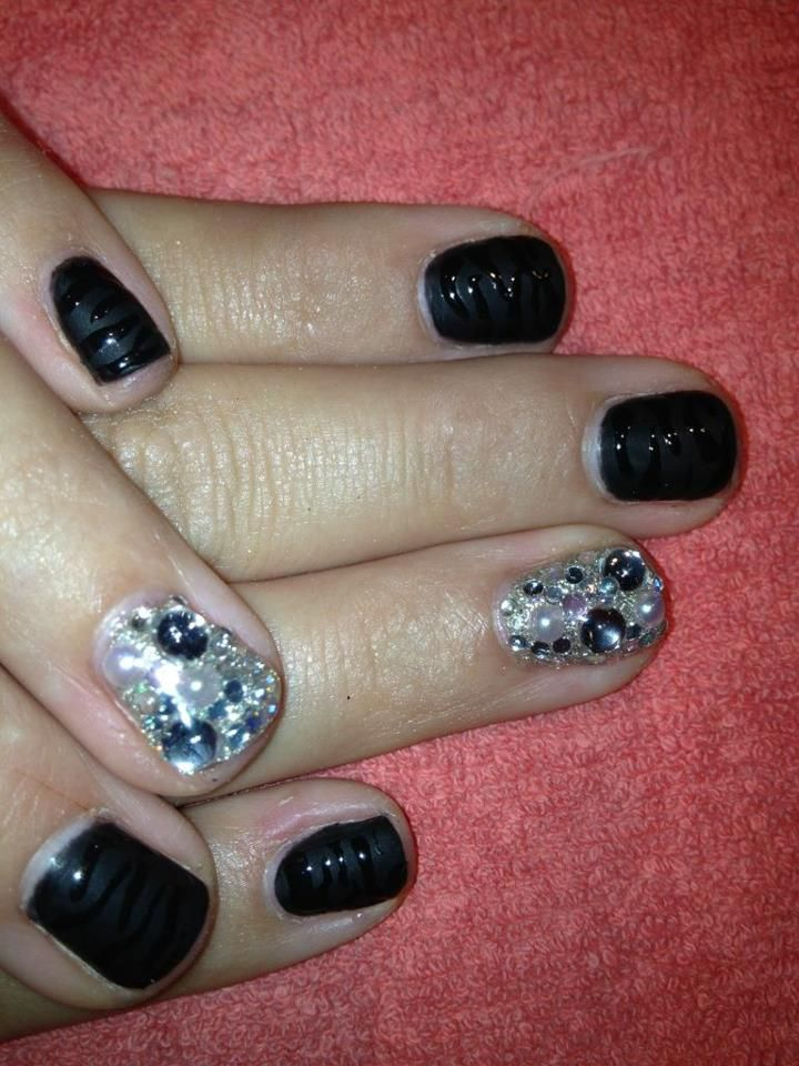 Zebra nails with gemstones done at The Nail Lounge Costa Mesa, CA ...