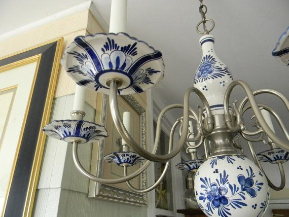 Delft Chandelier Blue White Pewter Vintage Rare By Thevintagemomma 725 00
