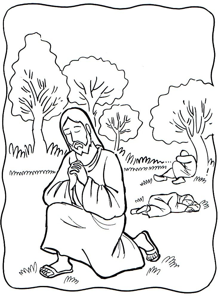Jesus Prays Coloring Painting Sheet With Images Bible Coloring