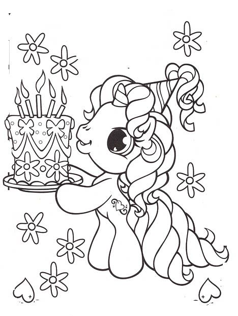 Coloring Pictures Of Unicorn Cakes Design