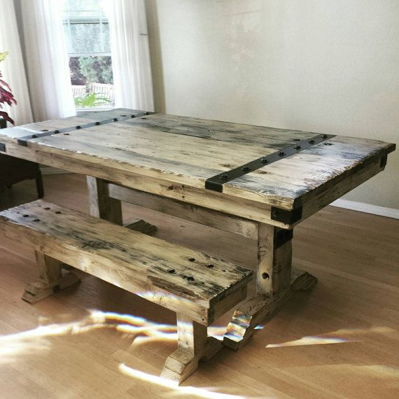 Rustic Distressed Dining Table And Bench