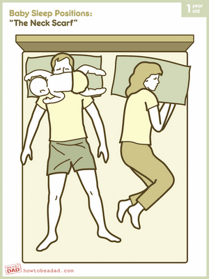 Co Sleeping This Is No Fun Put Baby In His Crib In The Room With Mom And Dad Sleep Funny Baby Sleeping Positions Funny Babies