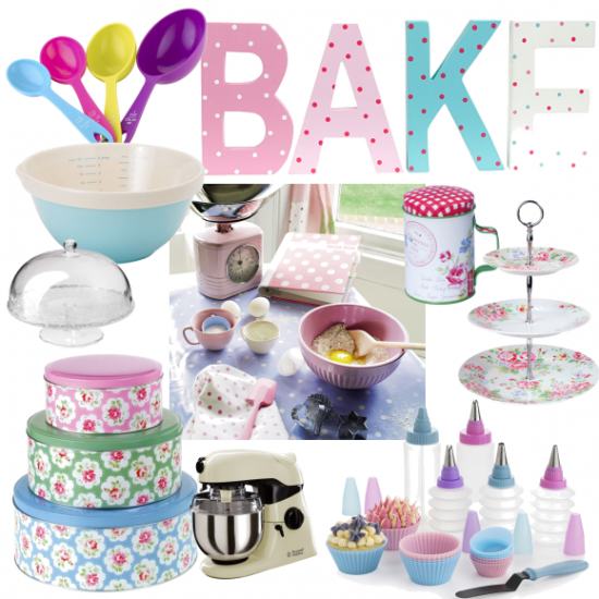 Be inspired by the Great British Bake Off, and stock up on these pretty kitchen accessories. Yummy!