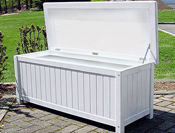 White Storage Bench Hinge Assembly Required Marine Quality Polyurethane White Paint Finish
