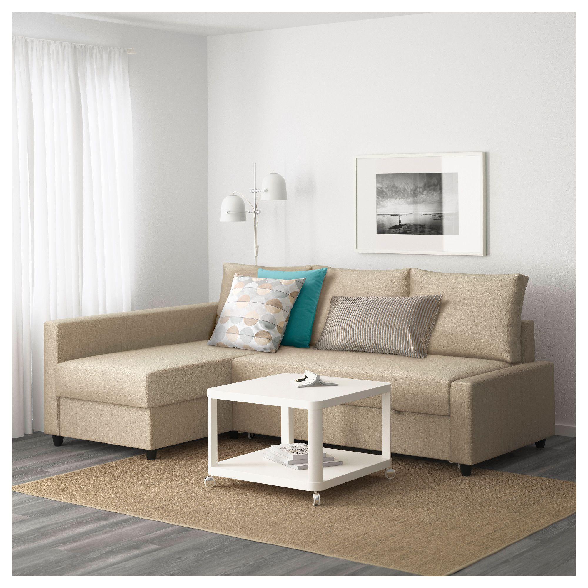IKEA FRIHETEN Corner sofa bed with storage Skiftebo beige