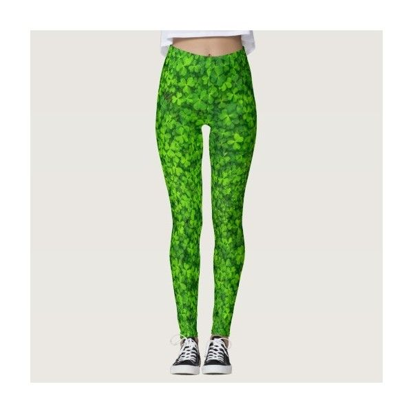 Shamrocks Clover Leaves St. Patrick's Day Festive Leggings ($67) ❤ liked on Polyvore featuring pants, leggings and legging pants