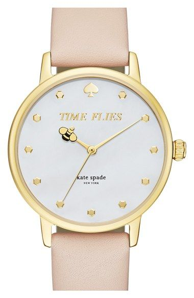 ae0225959 kate spade new york 'metro - honeybee' leather strap watch, 34mm available  at #Nordstrom
