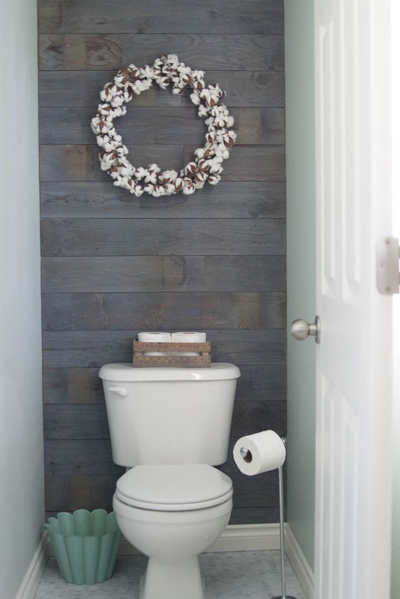 Plank wall stained in Minwax classic gray. This is an easy and inexpensive  project. Bathroom Wall DecorBasement BathroomToilet Room ...