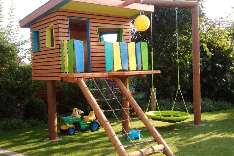 Klettergerüst Wehrfritz : Kinderspielhaus im garten bauanleitung zum selberbauen 1 2 do