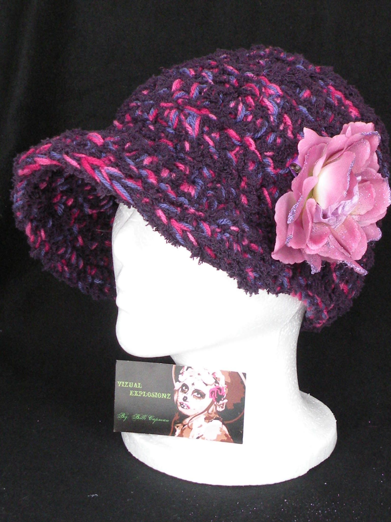 Quadrupal spooled boutique hat with removable flower clip-  Flower doubles as a hair accessory!