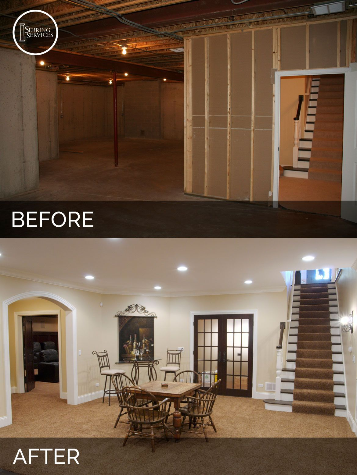 Steve & Elaine's Basement Before & After Pictures