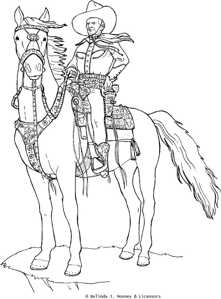 cowboy coloring book pages free-#37