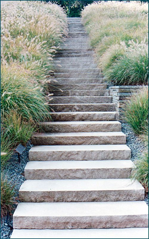 Stone Treads (without Cheek Walls)   Granite Could Be Used In This  Application. Limestone Stone Step Staircase In A New Jersey Landscape