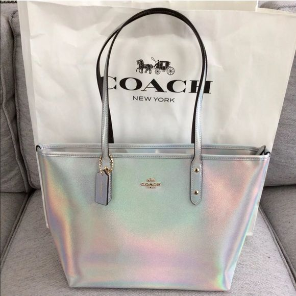 e36d3ebff83 NWT COACH Hologram City Zip Tote Stunning silver iridescent calf hair  leather, silver changes colors on different angles and light. Limited  Edition bag sold ...