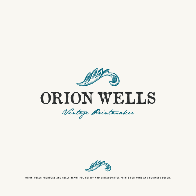 create a clean logo for vintage printmaker orion wells purplesblueslight neutrals