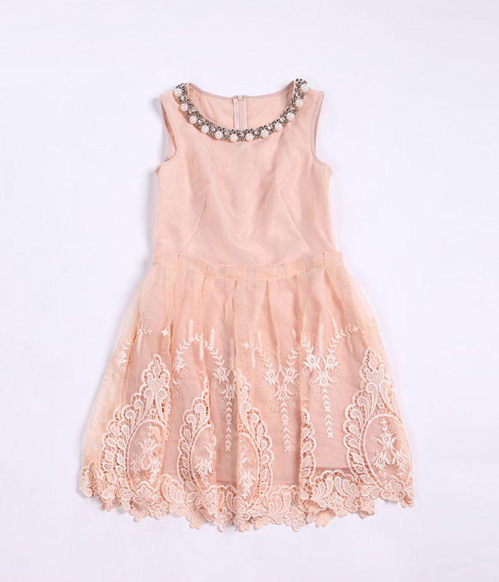 Apricot Sleeveless Bead Embroidery Silk Dress
