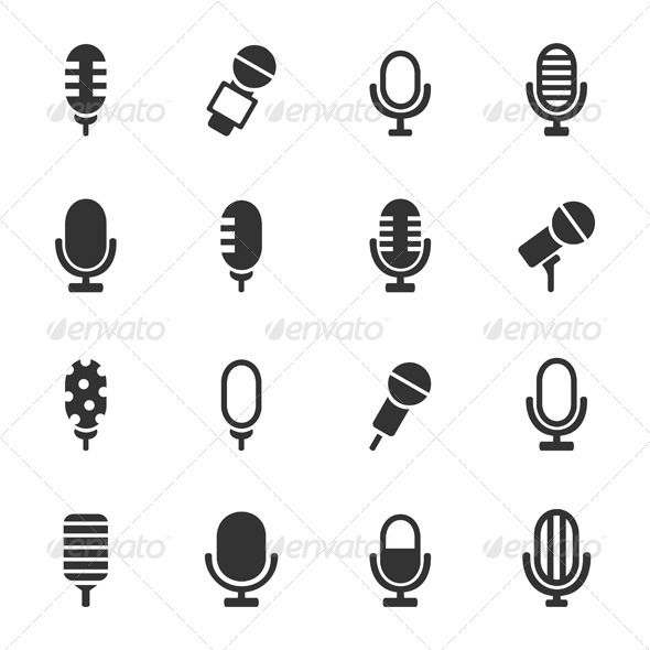 Microphone Icons Graphicriver Graphic Design Pinterest Icons