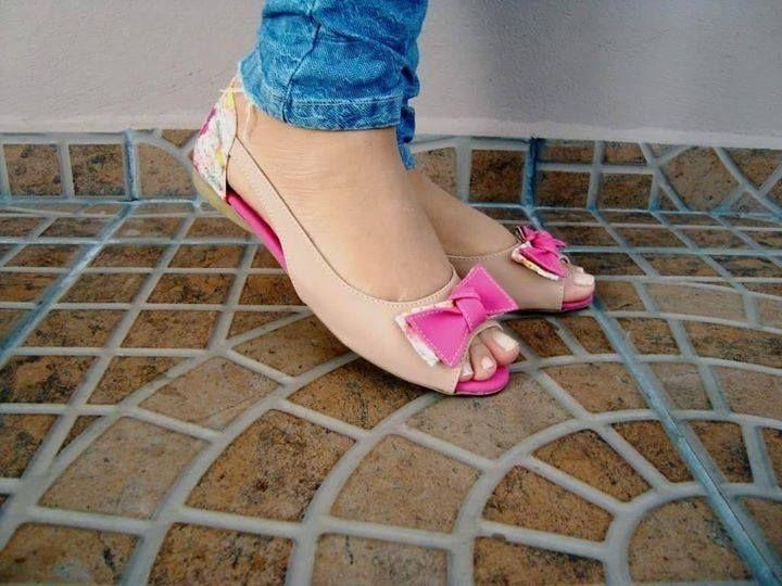 Sapatilha laço rosa nude #modafeminina