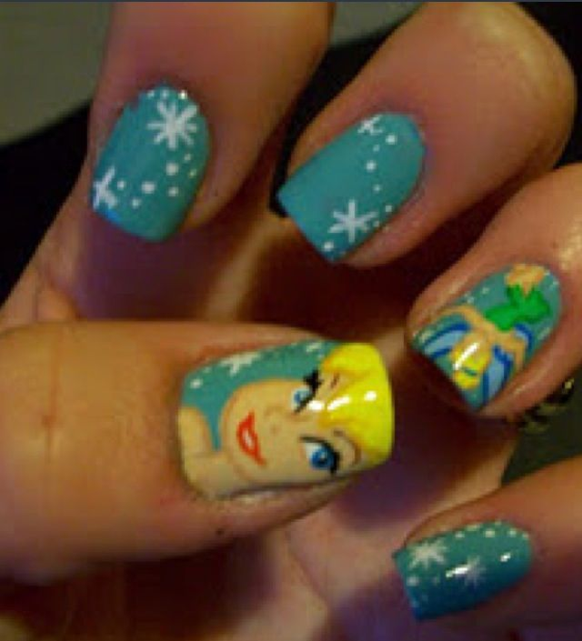 Tinkerbell Nails: Tinker Bell Nails. I Totally Want This For When I Run The