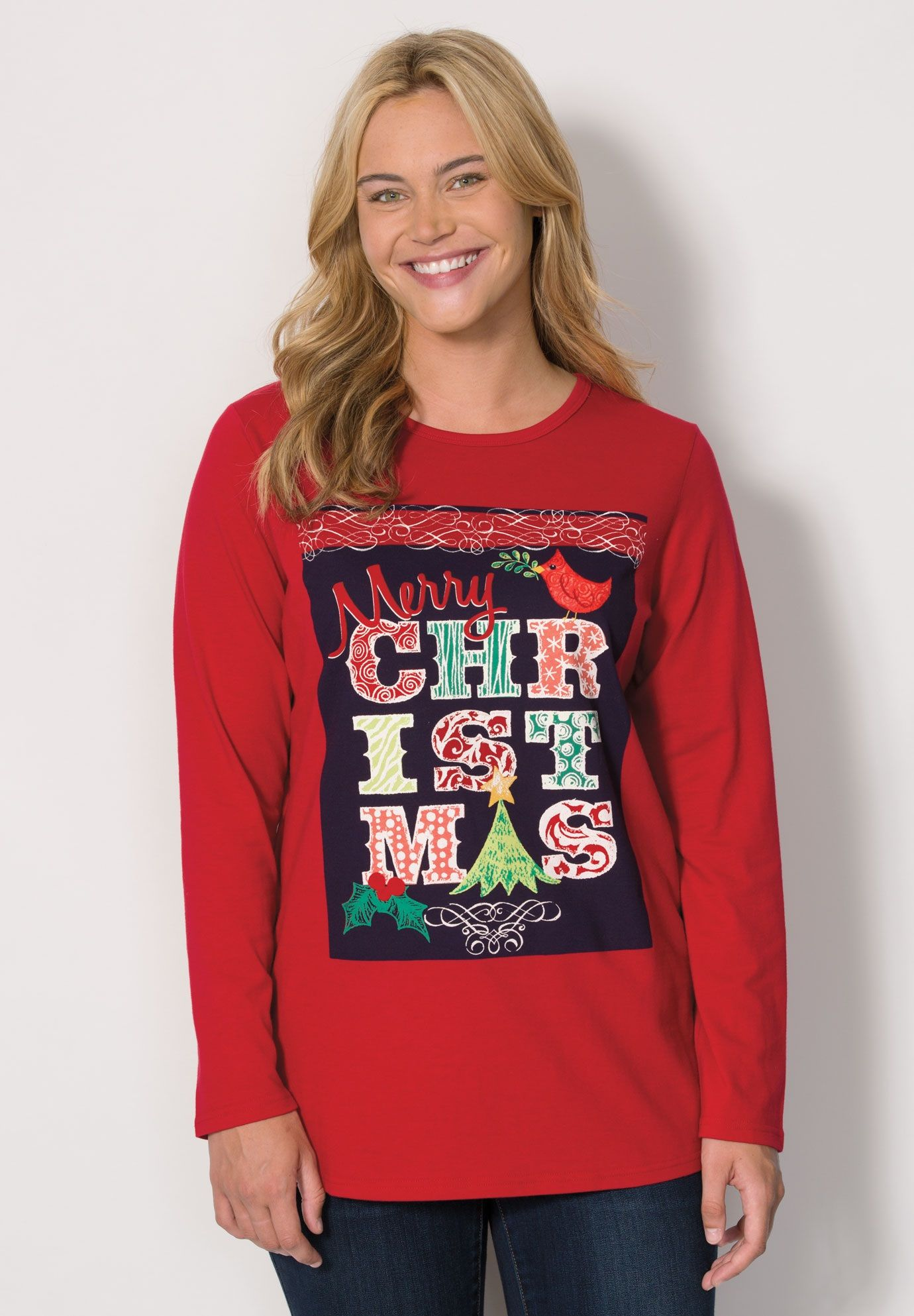 0499eb74a9d Festive knit holiday T-shirts - Women s Plus Size Clothing ...