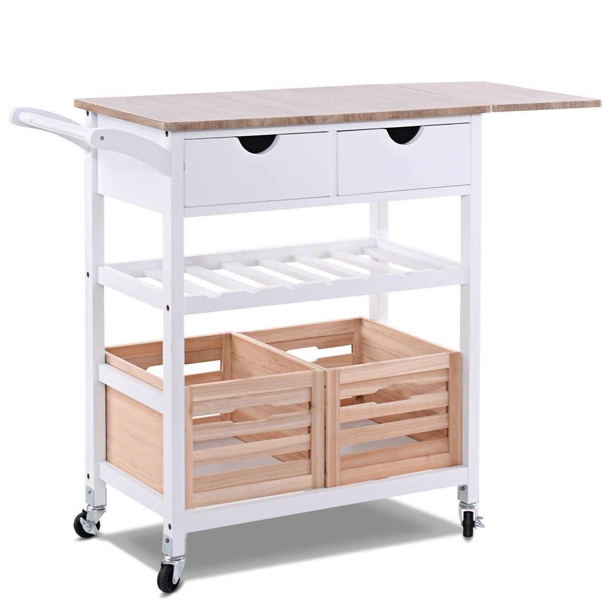Rolling Kitchen Island Trolley Cart With Wine Shelf Main Material
