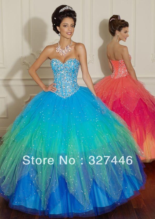 Vestidos de 15 azul verdoso