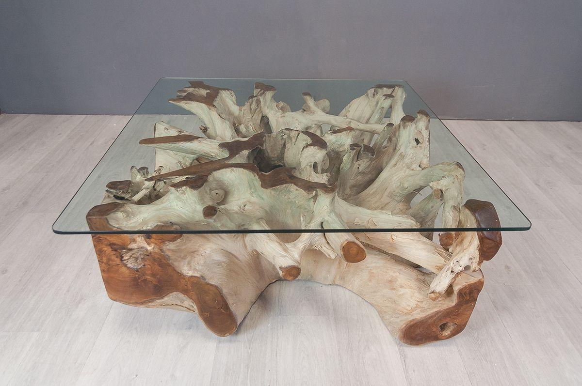 Table Basse Carree En Racine De Teck 80 X 80 Cm Table Basse