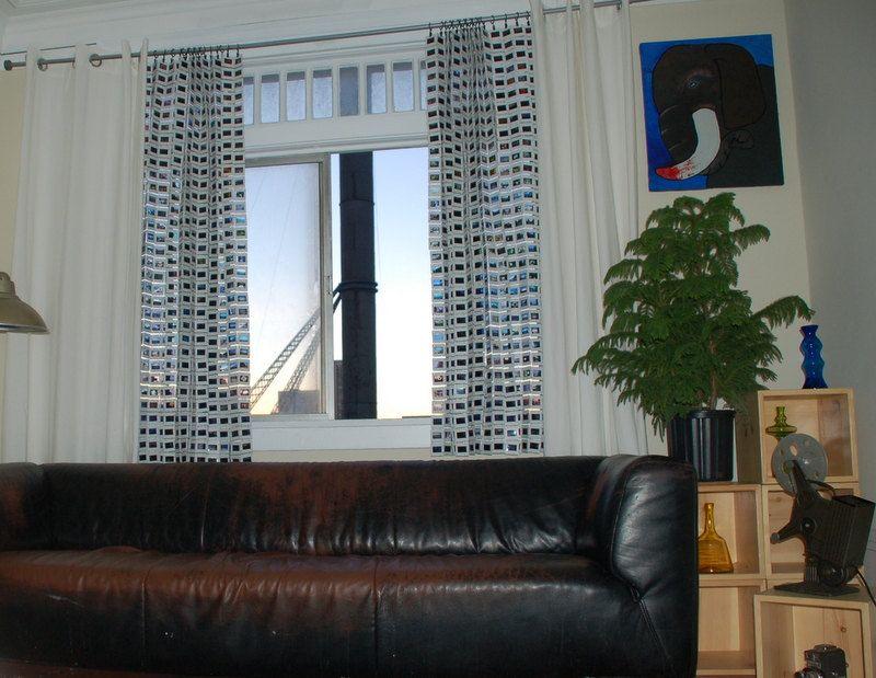 35mm film slide curtains upcycled vintage 35mm slides window art