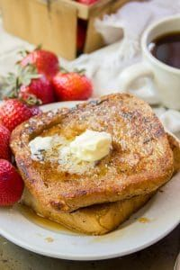 Classic Vegan French Toast You can't beat a classic! This vegan French toast tastes like the stuff you grew up eating, but is made with absolutely no eggs or dairy. Grab some maple syrup and dig in!