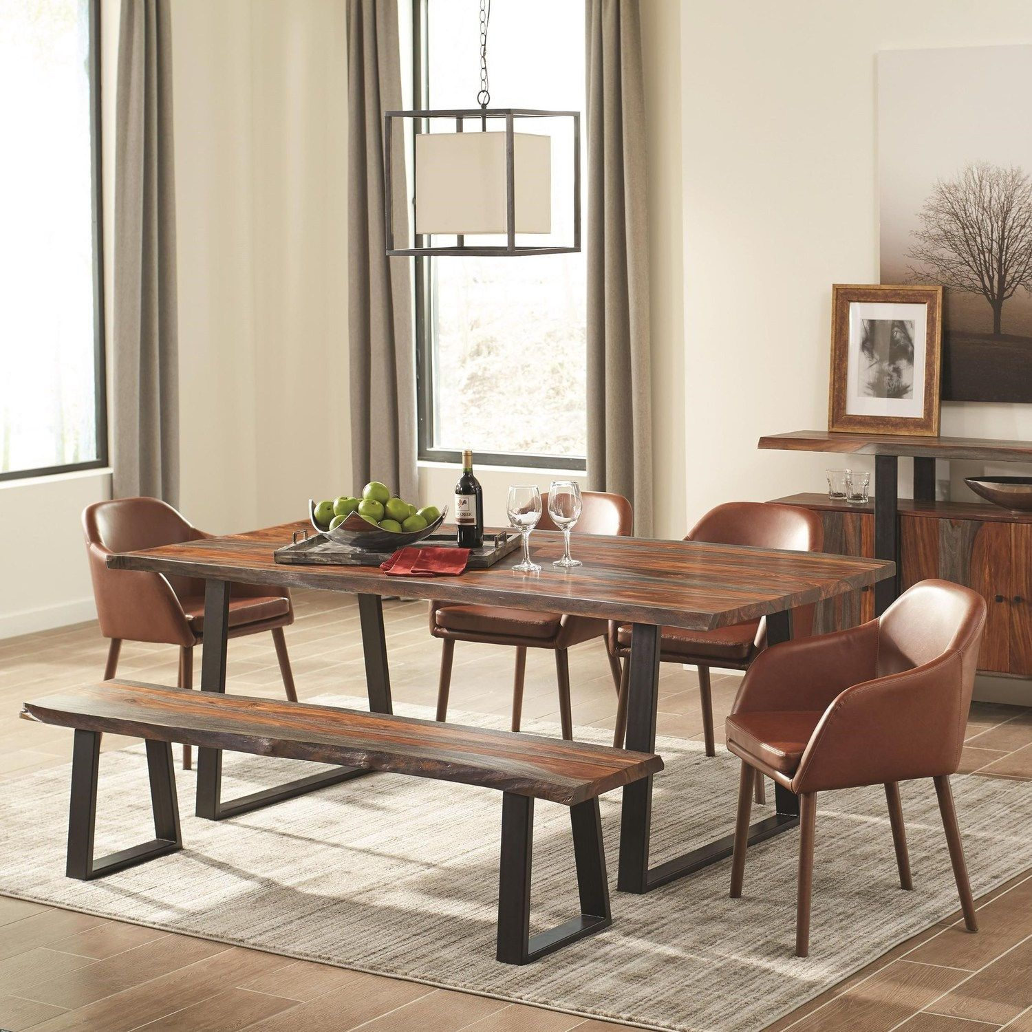 Jamestown Table 107511 103547 107515 Coaster Furniture Family Size Dining In 2020 Faux Leather Dining Chairs Live Edge Dining Table Dining Room Sets