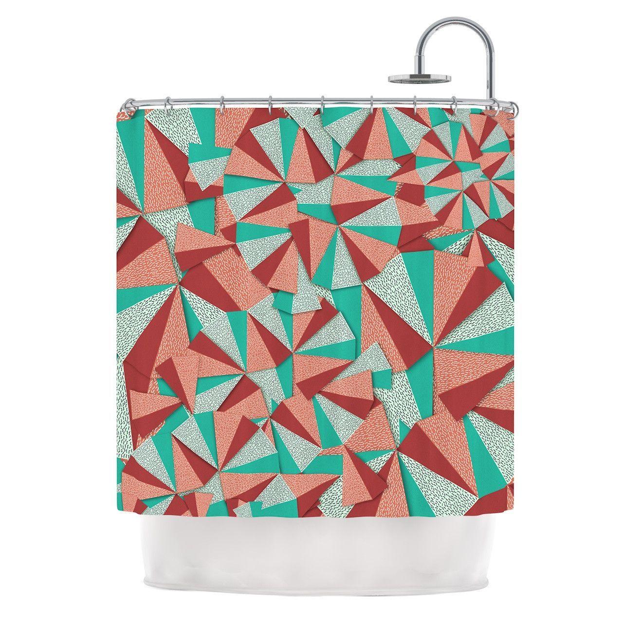 Danny Ivan Marsala Pattern Teal Red Shower Curtain
