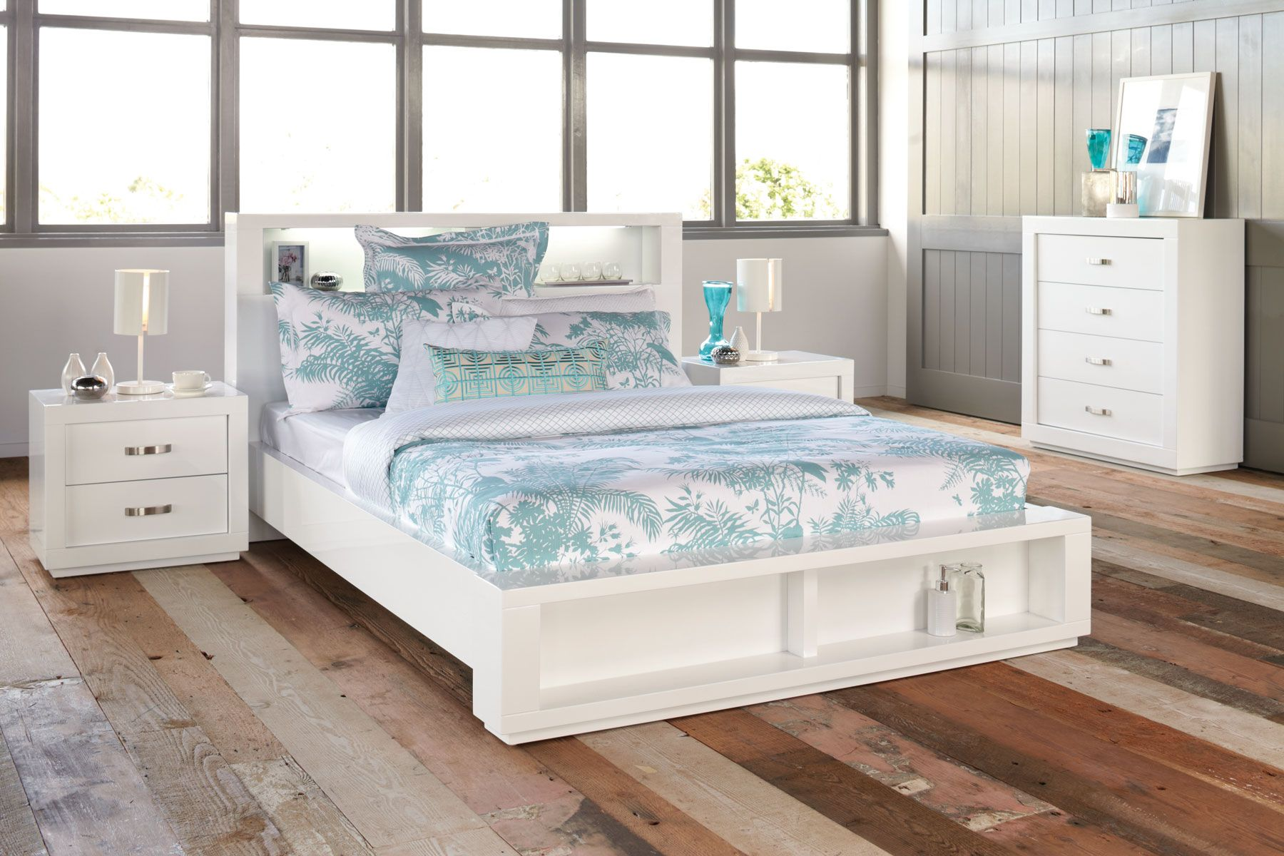 Outstanding White Lacquer Solid Oak Wood Harvey Norman Summit Queen Bed Together With Light Sky Blue Cheap Bedroom Furniturebedroom