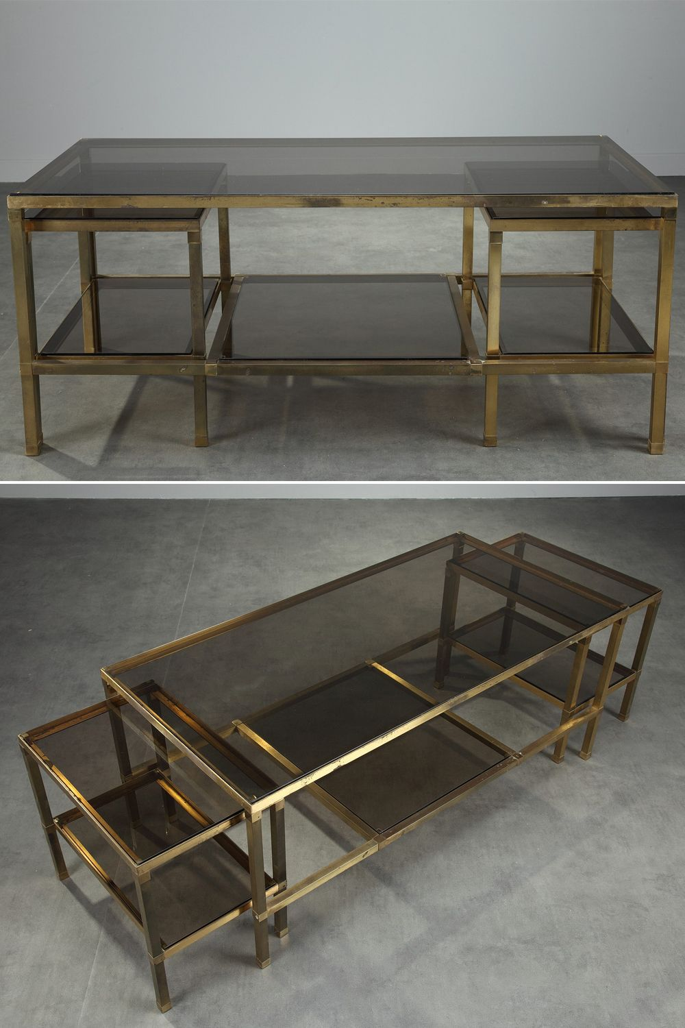 Gilt Bronze Coffee Table Composed Of Three Nesting Tables Each Table Is Provided With Two Smoked Glass Low Glass Coffee Table Coffee Table Bronze Coffee Table