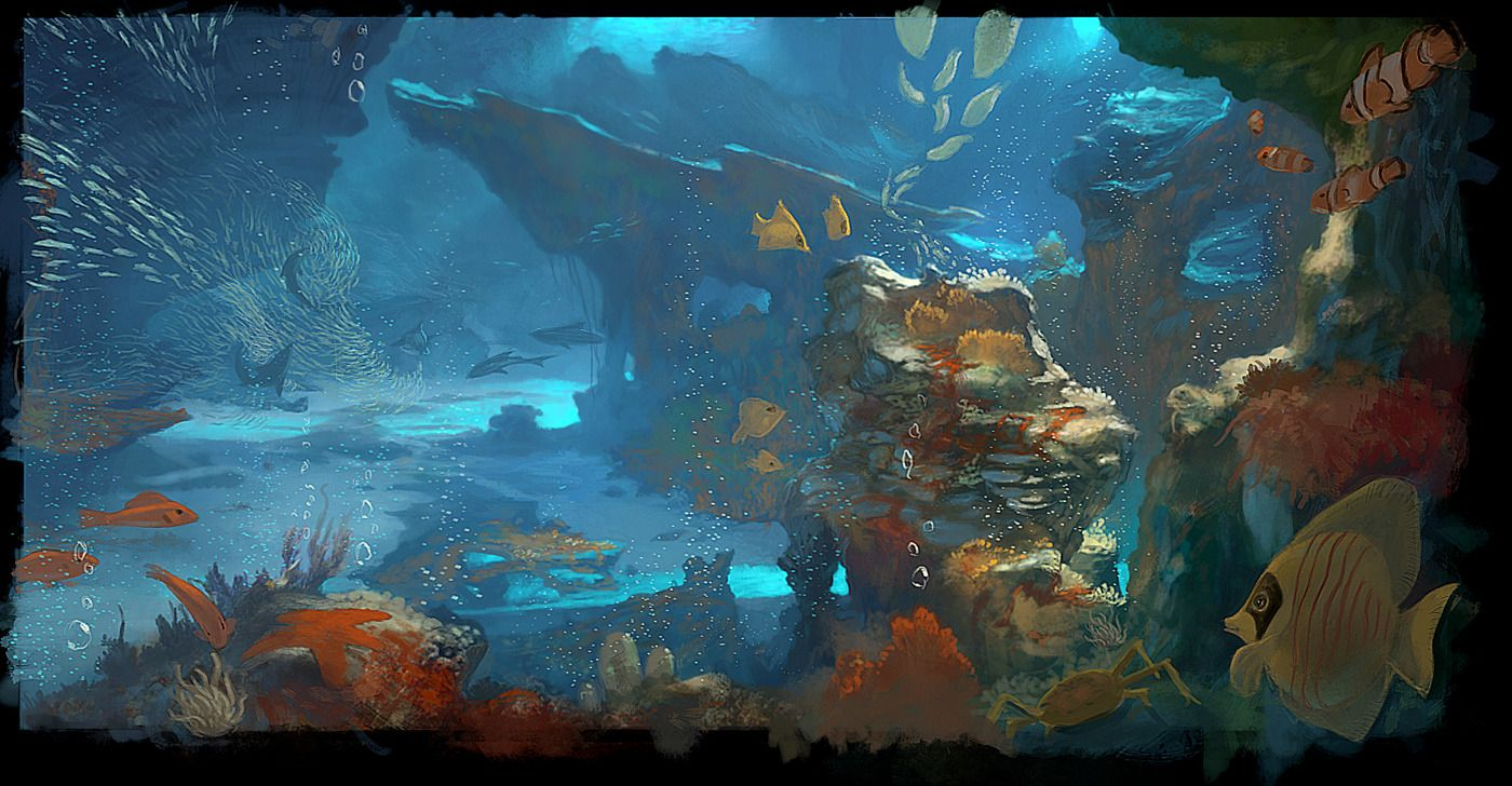 Medium underwater concept picture 2d illustration for Shivers fish house
