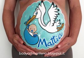 Belly Painting Stork by Marilena Censi