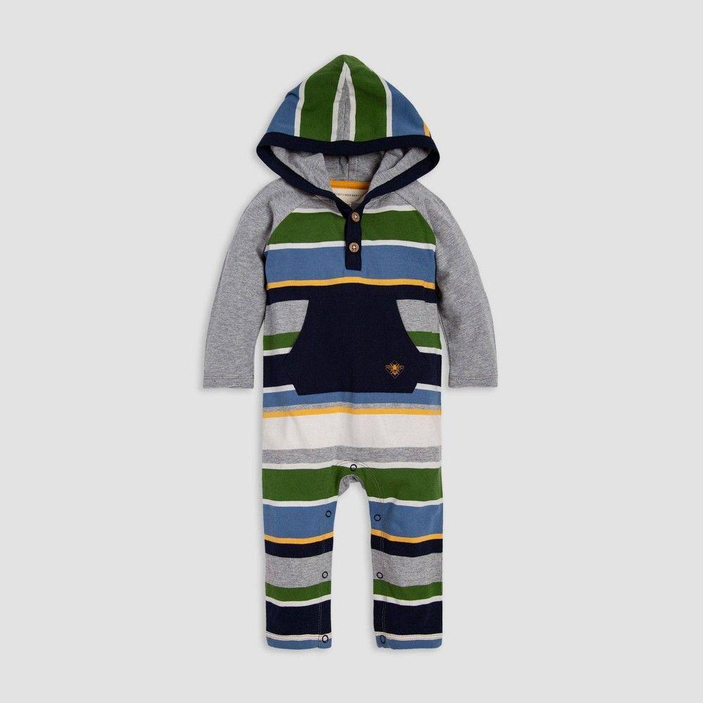 Burt/'s Bees Baby Boy Hooded Romper ~ Blue /& Gray ~ Organic Cotton ~