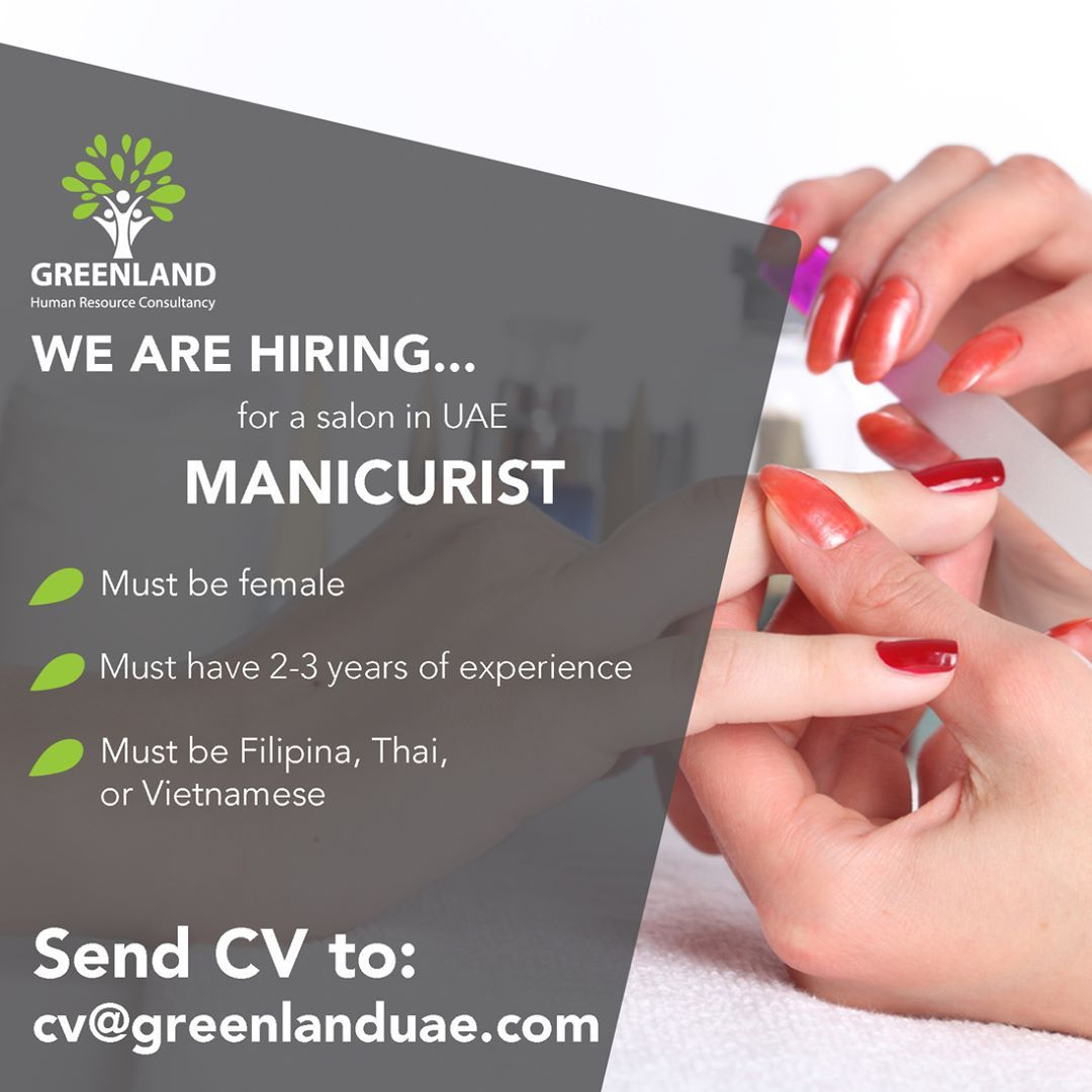 We are hiring female MANICURISTS 💅🏻 with 2 to 3 years of