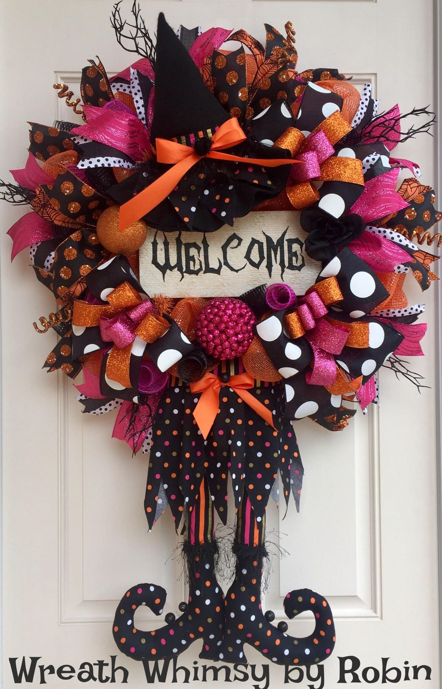 halloween deco mesh witch wreath in orange pink and black with reclaimed wood welcome sign - Halloween Deco