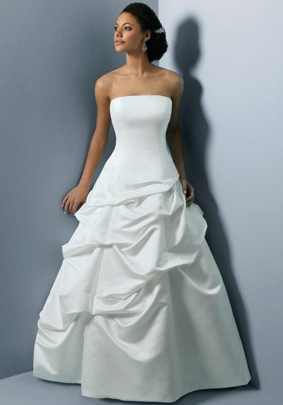 Strapless satin ball gown with full pick up skirt and for Pick up skirt wedding dresses
