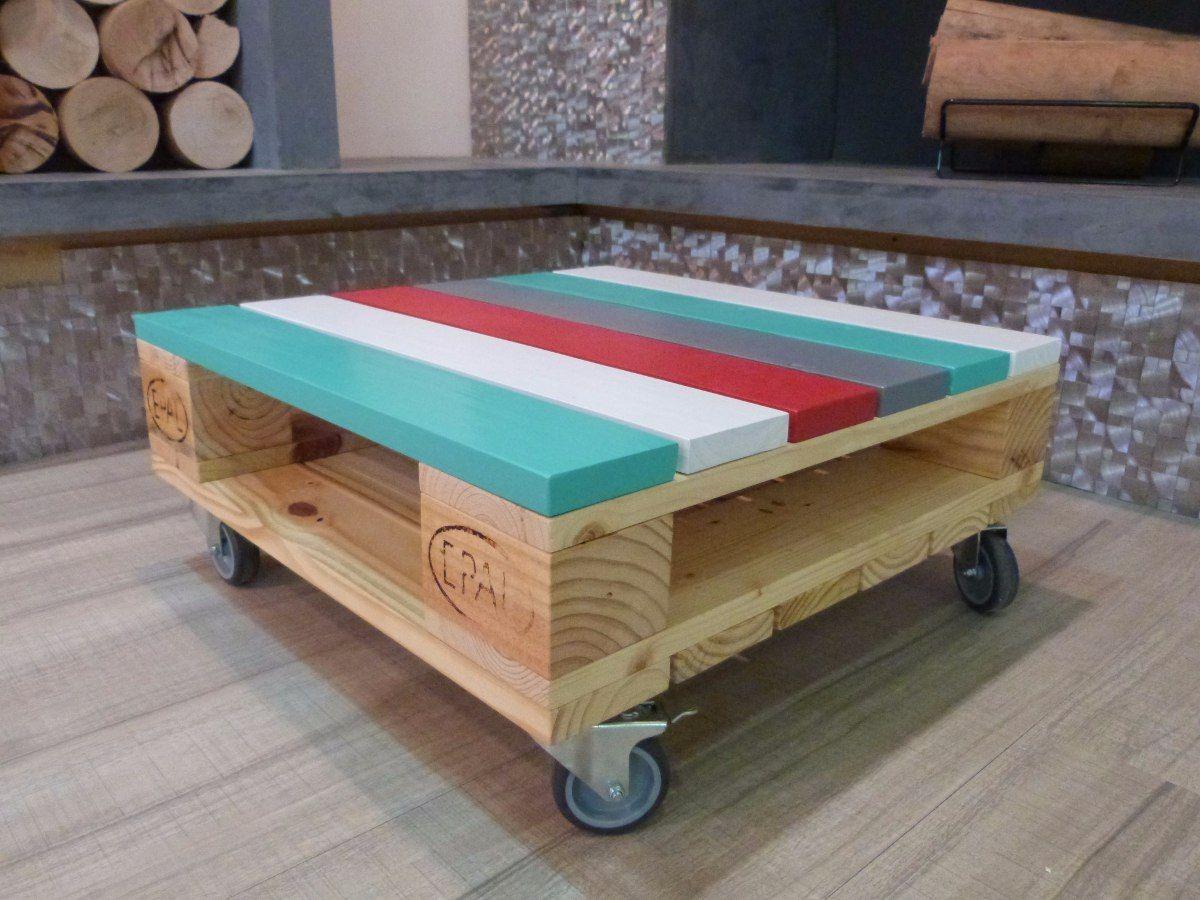Mesa ratona vintage de palet reciclado en for Mesas industriales vintage
