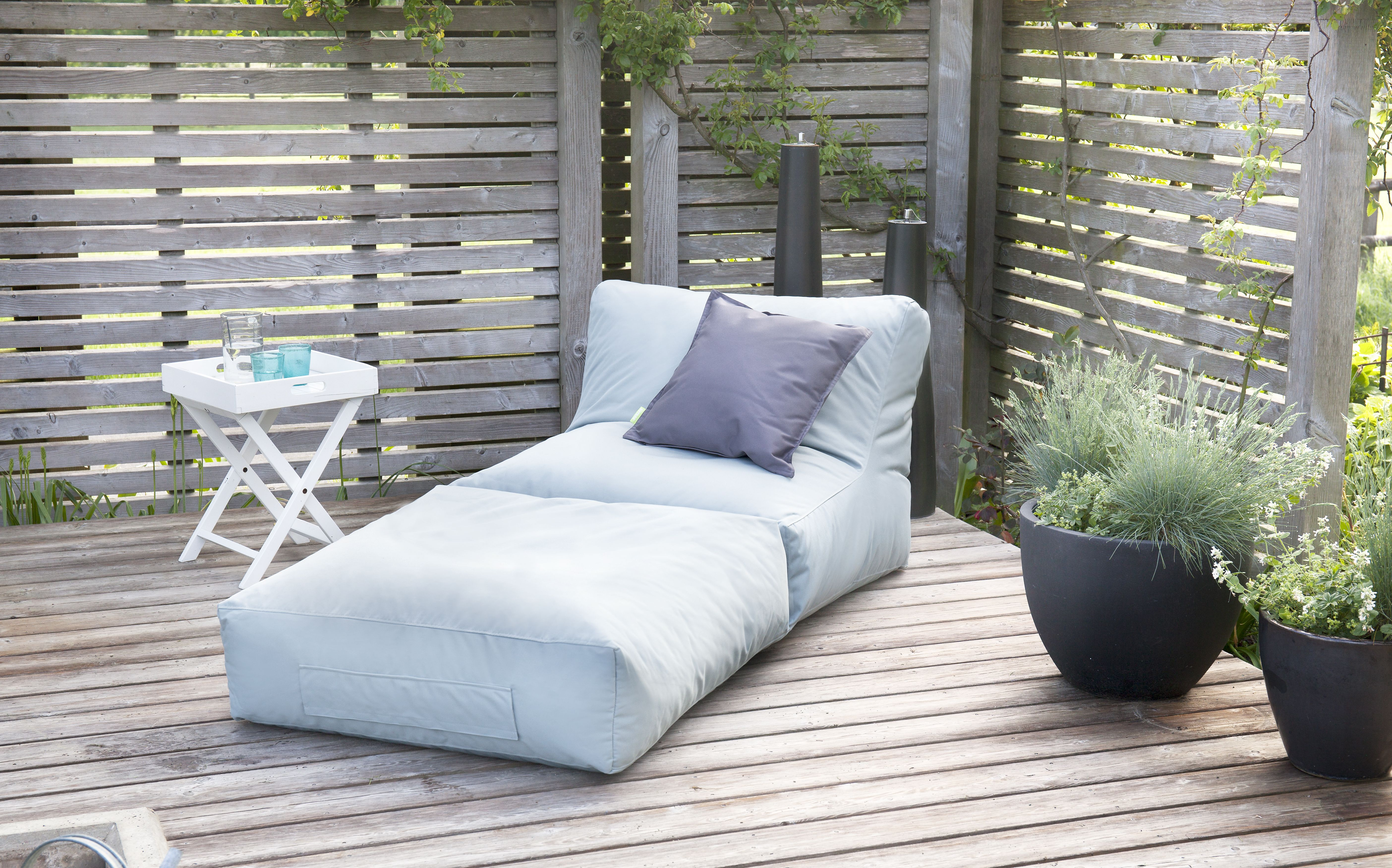 Lounge Möbel Wetterfest Sitzsack Outbag - Modell: Peak, Material: Plus Farbe: Stone-grey | Outdoor Lounge Möbel, Lounge Sessel Garten, Outdoor Möbel