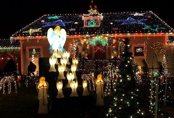 Outdoor Christmas Decorations | Outdoor Christmas decoration with lights and angels picture