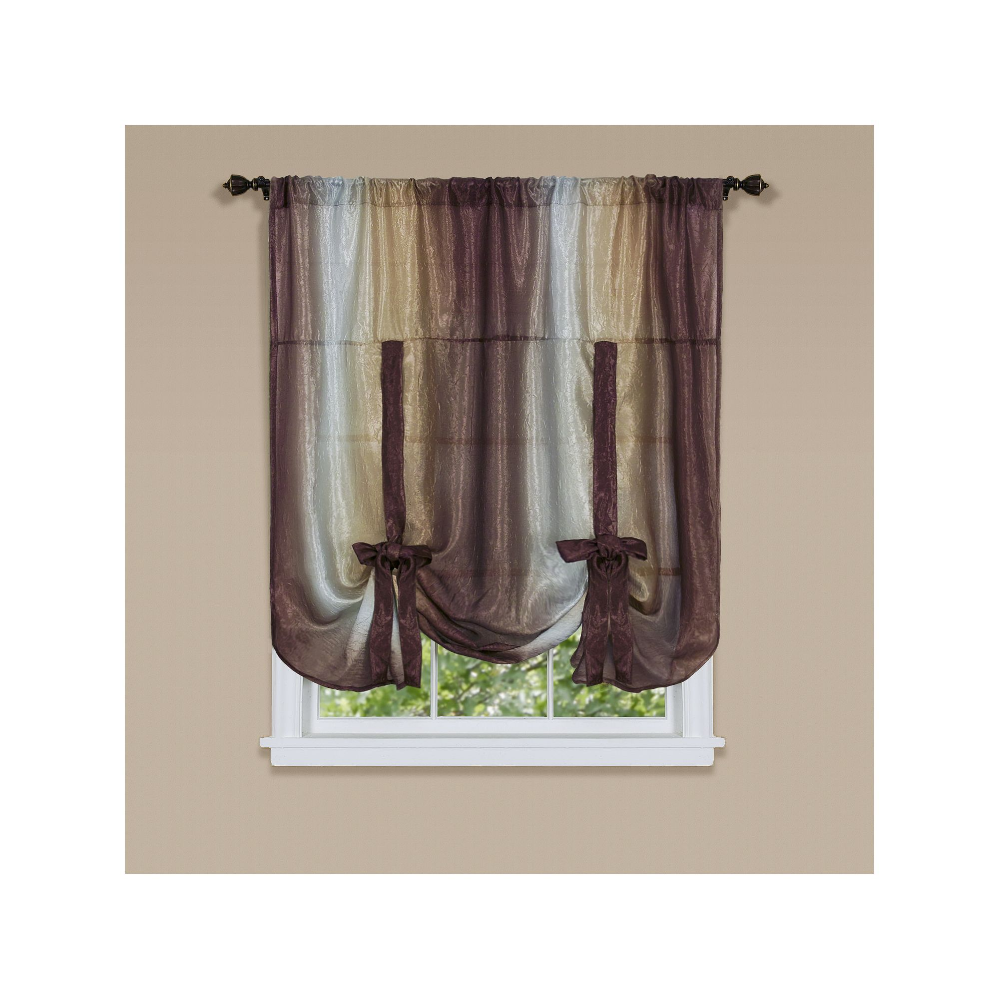 Ombre Tie Up Window Shade 50 X 63 Brown 50x63 Tie Up Shades Burgundy Curtains Panel Curtains